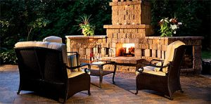 Outdoor Fireplace at night 2