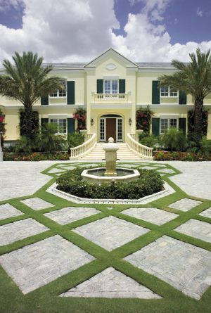 Grass and Paver Driveway