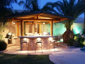 Outdoor bar-kitchen at night